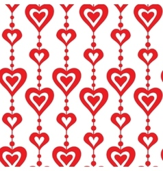 Red hearts and pearls seamless pattern vector image