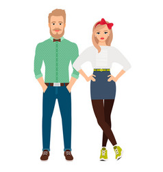 retro style dressed fashion couple vector image