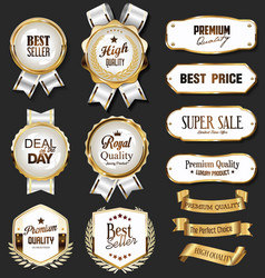 retro vintage golden badges labels badges and vector image