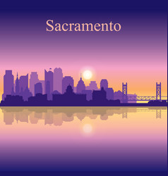 Sacramento silhouette on sunset background vector
