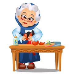 sad animated old lady glued up broken vector image