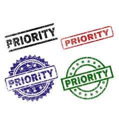 Scratched textured priority seal stamps vector