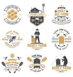 set honey bee farm badge concept for vector image