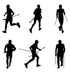 Set men athletes skyrunner running vector