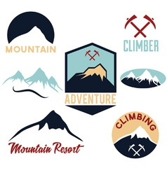 set of mountains and climbing icons vector image