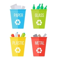 Set of Recycle Garbage Bins Waste Recycling vector