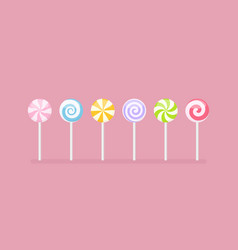 Set pastel colored lollipop sweet candies vector