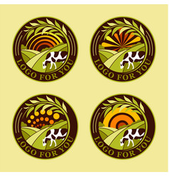set round agricultural logos farm icons vector image