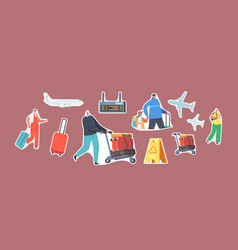 Set stickers family travel with children parents vector