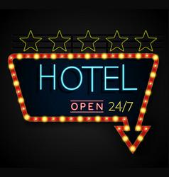 Shining retro light banner hotel on a black backgr vector