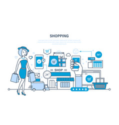 Shopping payment system of products delivery vector