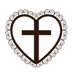 silhouette heart decorative frame with brown vector image