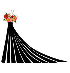 Silhouette of a dress with flowers and lace vector