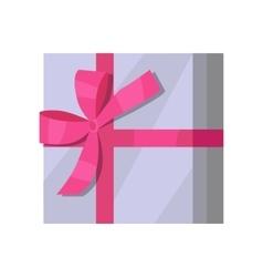 Silver Gift Box with Pink Ribbon vector image vector image