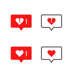 Speech bubble with broken heart icon vector