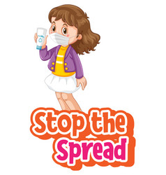 stop spread font with a girl wearing mask vector image