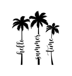summer handwritten word and palms vector image