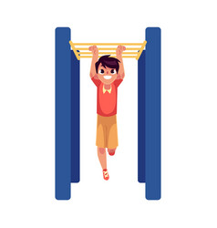 teenage caucasian boy climbing hanging on monkey vector image vector image