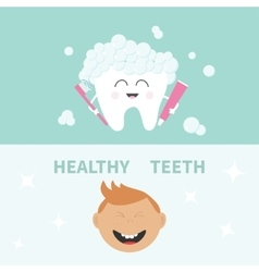 Tooth holding toothpaste and toothbrush Bubbles vector
