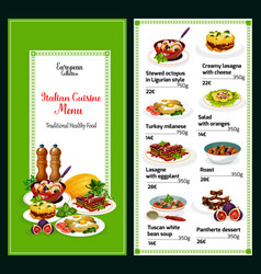 Traditional food italy menu dishes vector