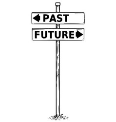 Two arrow sign drawing past and future vector