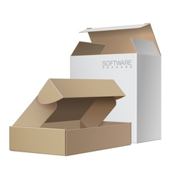Two package box opened for software electronic vector