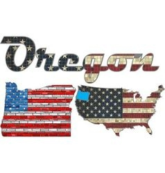 USA state of Oregon on a brick wall vector