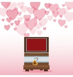 valentine day wooden chest open hearts background vector image