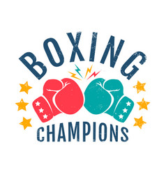 vintage logo for boxing champions vector image