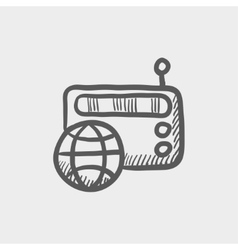 Vintage world radio aketch icon vector