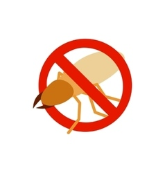 Warning sign with beetle stag icon vector