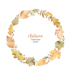 Watercolor round frame of leaves and vector