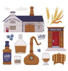 Whiskey production process with irish pub vector