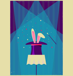 White rabbit in magical hat old poster of magic vector
