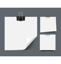 White sticky note paper sheets vector image