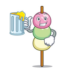 With juice dango mascot cartoon style vector