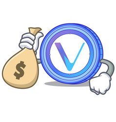 with money bag vechain coin character cartoon vector image