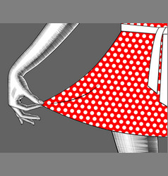 womans hand pull edge red dress vector image