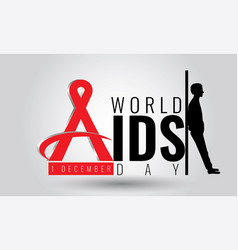 world aids day - sign symbol 1 december vector image
