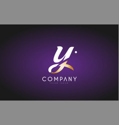 Y alphabet letter gold golden logo icon design vector