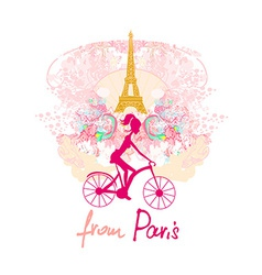 young girl with bicycle in Paris vector image