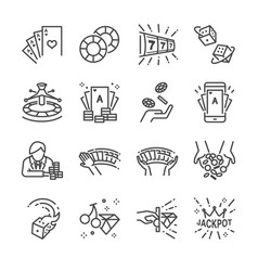 casino and gamble line icon set vector image