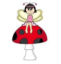 Fairy sitting on a mushroom vector image vector image