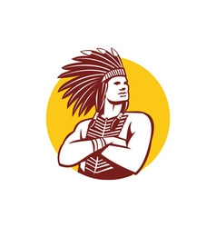 Native American Indian Chief Warrior Circle Retro vector image vector image