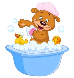 teddy bear taking a bath vector image vector image