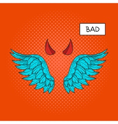 hand drawn pop art of devil wings and devil horns vector image vector image