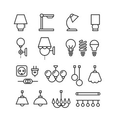 lamp bulbs chandelier and electrical devices vector image vector image