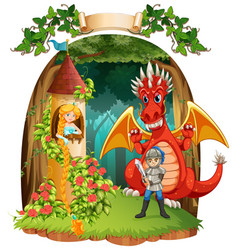 scene with knight saving princess from the dragon vector image
