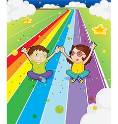 A young girl and a young boy at the colorful road vector image