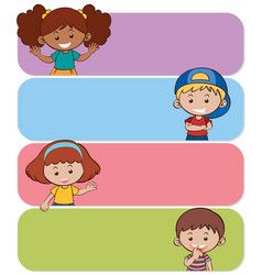 four banners with happy kids vector image vector image